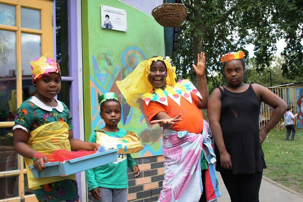 Hayward Adventure Playground - four girls dressed up