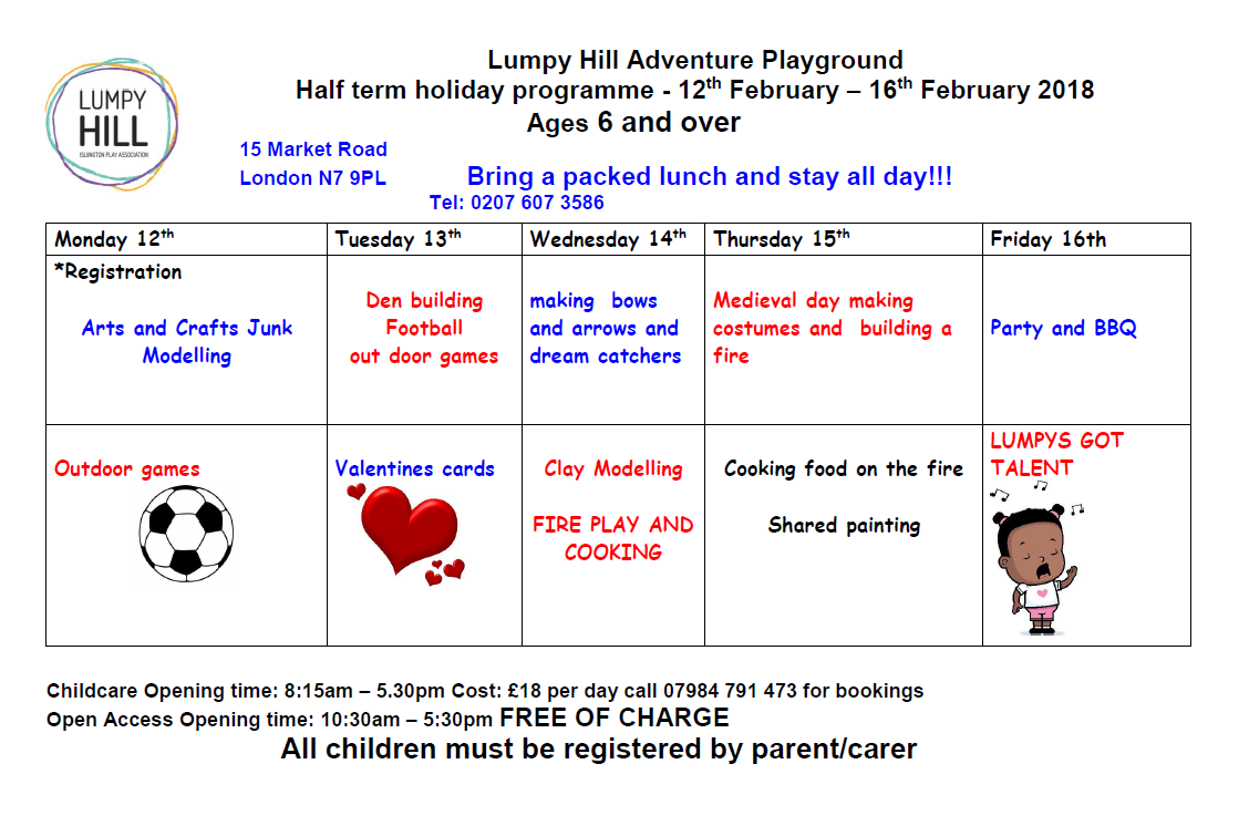 Lumpy Hill February Half Term Schedule