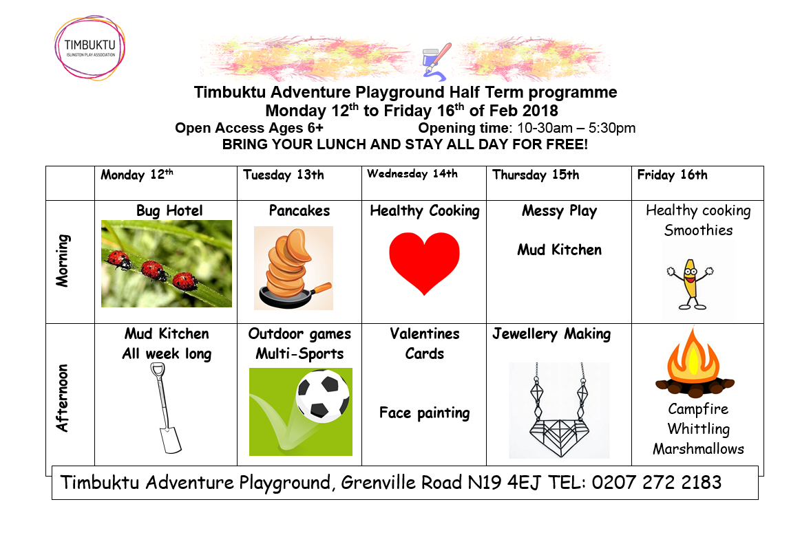 Timbuktu Adventure Playground Feb Half-Term 2018